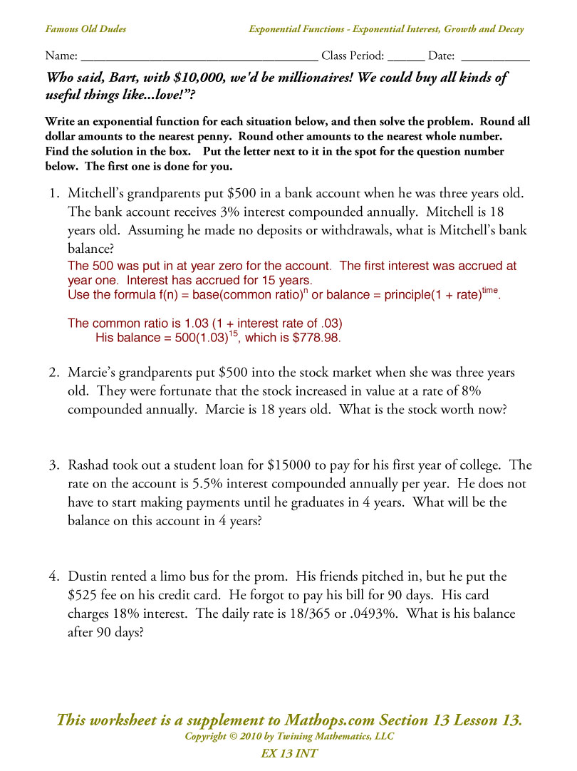 worksheet Compound Interest Worksheets all grade worksheets compound interest worksheet answers unit 5 ms russells math wiki